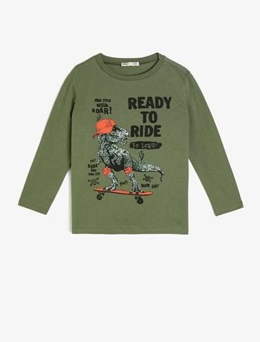 Koton Kids Yazılı Baskılı T-Shirt Yeşil